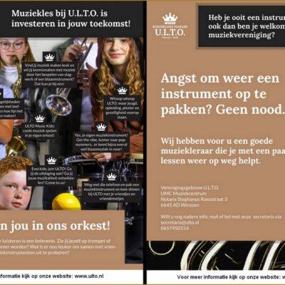 Koninklijke Fanfare U.L.T.O. start ledenwerf actie voor jong en oud.