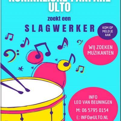 Koninklijke Fanfare ULTO zoekt ervaren slagwerker!